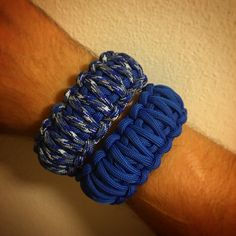 Blue camouflage and solid blue king cobra 550 paracord bracelets.
