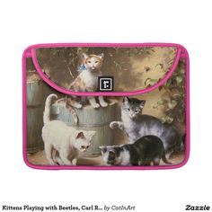 Kittens Playing with Beetles, Carl Reichert Sleeve For MacBook Pro