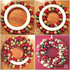 Saw it. Pinned it. Did it: Ornament Wreath - Amy's Balancing Act #christmasdiy