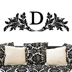 Monogram - Damask (Headboard Length) D. These monograms are absolutely stunning on walls as headboards. They also work well on mirrors, outside doors, windows, shower doors, glass, tile, plexiglass, wood and much more!