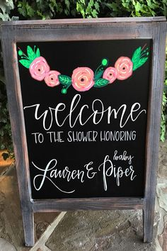 Bridal shower sidewalk chalkboard. When there's a party, there must be a sign to announce it. And it has to be made with Kassa's Liquid Chalk Markers.