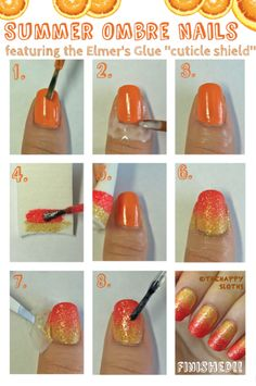 Elmer's Glue Shield for Gradient Manis!   1.Apply base coat and base color. 2.Apply thick layer of Elmer's glue very closely around cuticle with thin paint brush. Wait to dry completely. 3.On damp sponge, paint ombre/gradient design. 4.Dab polished sponge onto base colored nail. 5.Repeat until satisfied with effect and proceed to next step before polish dries. 6.Carefully peel glue off with tweezers to reveal mess-free cuticles! 7.Apply optional top coat.