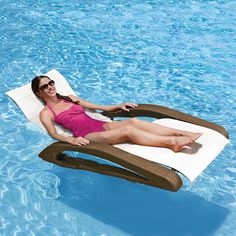 Swimways Riviera Chaise Pool and Patio Lounge Lawn Chairs, Dining Table Chairs, Floating Lounge Chairs, Outdoor Spaces, Outdoor Living, Stock Pools, Dock Of The Bay, Pool Rafts, Pool Toys