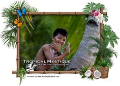"""Filipino or Pinoy boy Reynard in a coconut tree giving us the """"peace"""" sign.  View more photos from the Philippines on our website.  On facebook: www.facebook.com/TheTropicalMystique Website: www.TheTropicalMystique.com  Private short or long term rentals located in the Philippines."""