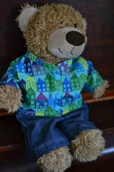 Handmade Gifts for Boys day 4 – Teddy Bear Dress-up Clothes (and FREE pattern! Diy Teddy Bear, Teddy Bear Clothes, Teddy Bears, Build A Bear Clothes Pattern, Build A Bear Outfits, Boys Day, Teddy Bear Jacket, Bear Doll, Doll Clothes Patterns