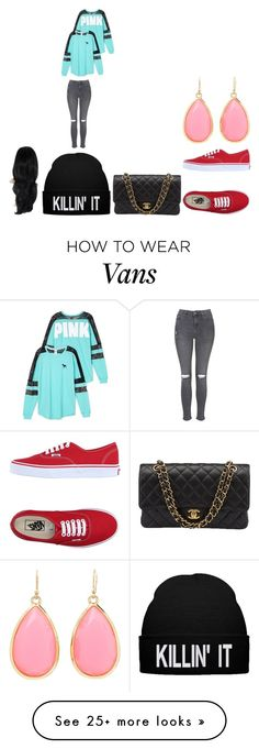 """vans"" by briannabranch4 on Polyvore featuring Victoria's Secret, Topshop, Vans, Chanel and Kate Spade"