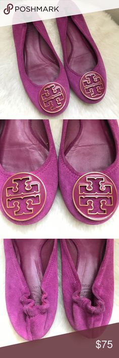 Tory Burch Reva suede flats Cute purple, plum, magenta color. Suede. Excellent condition Tory Burch Shoes Flats & Loafers