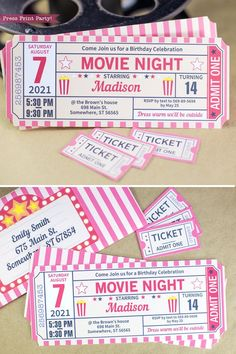 Ticket Invitation with extra tickets and envelope printable. Invite your guests to your birthday outdoor movie night with this vintage style ticket invitation. Also great for a Hollywood theme party. For more DIY Movie n Sleepover Birthday Parties, Fun Sleepover Ideas, Birthday Party For Teens, Birthday Party Themes, Card Birthday, Birthday Greetings, Happy Birthday, Birthday Template, Birthday Party Ideas For Teens 13th