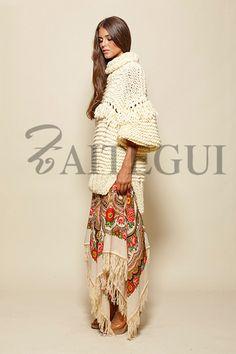 Jersey largo en color crudo - 195,00€ : Zaitegui - Moda y ropa de marca para señora en Encartaciones
