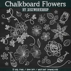 17 Chalkboard clip art Flowers + 2 black & green chalkboard background.    This amazing chalkboard clip art flowers set contains 17 different floral