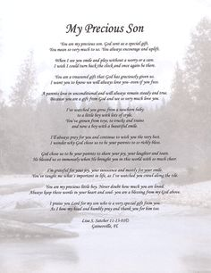 poems pics about sons | ... Original Inspirational Christian Poetry - Poems - My Precious Son