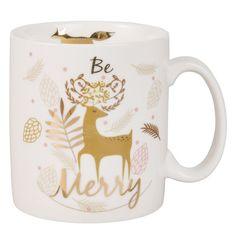 Mug cerf en porcelaine blanche