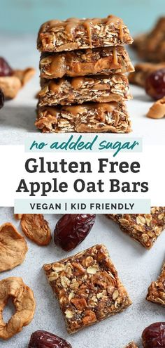 Healthy lunchbox snack for you! These No Bake Apple Oat bars are sweetened with only Medjool dates and contain chewy, dried apple pieces! Made with only 6 ingredients, vegan and gluten free – perfect for kids and can be made nut free! Date Recipes Healthy, Healthy Desserts, Vegan Breakfast Recipes, Sweet Recipes, Dessert Recipes, Vegan Recipes, Healthy Tips, Healthy Lunchbox Snacks, Vegan Snacks