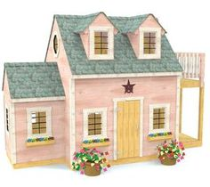 A cute, two story girl's wooden playhouse plan with balcony