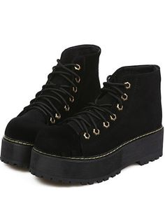 Black Velvet Lace Up Platforms Yellow Stitch Punk Rock Ankle Women Boots  Shoes a12698208c