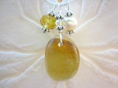 Sea Glass Necklace Jewelry Yellow  Beach by TheMysticMermaid