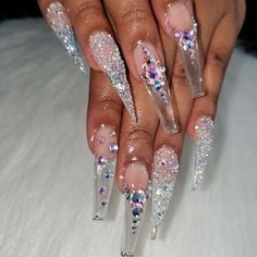 Bling Acrylic Nails, Aycrlic Nails, Glam Nails, Best Acrylic Nails, Glue On Nails, Bling Nails, Hair And Nails, Bling Nail Art, Coffin Nails