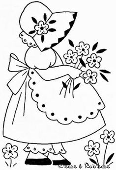 Patchwork sin aguja ~ Sunbonnet Sue watering flowers, watering can, pretty apron, duckling Hand Embroidery Patterns, Applique Patterns, Vintage Embroidery, Applique Quilts, Embroidery Applique, Cross Stitch Embroidery, Quilt Patterns, Machine Embroidery, Stitch Patterns