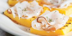 Grilled polenta 'crostini' with lardo