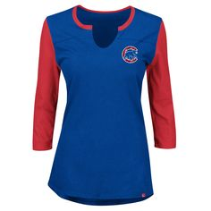 d1b5da4ab Chicago Cubs Above Average Three-Quarter Sleeve V-Notch T-Shirt by Majestic