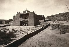 Old Mission Church, Zuni Pueblo, New Mexico. View from the plaza in 1873.
