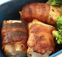 Bacon wrapped tofu... for the vegetarians out there