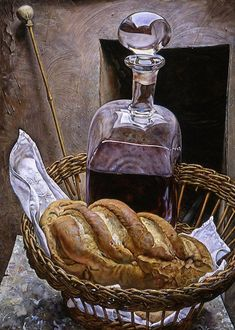 Michael Taylor, Decanter with Bread 2005 Still Life Painting, Wine Art, Art Painting Oil, Still Life, Still Life Art, Painting, Online Art, Still Life 2, Art