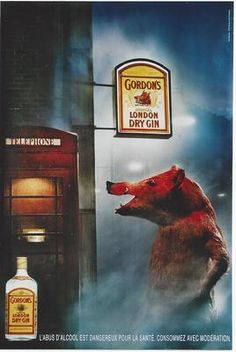 Original Vintage Poster Gordon's Dry Gin Wild Sow Telephone | eBay