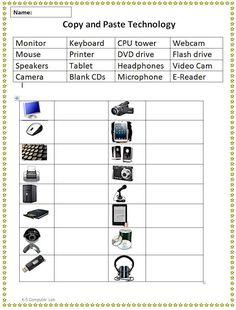 Copy and Paste Technology Vocabulary Sheet