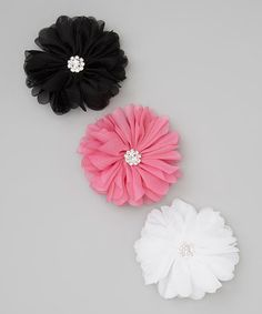 Take a look at this Black & Hot Pink Blossom Clip Set by Charlotte Rose Couture on #zulily today!