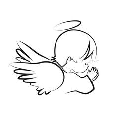Praying angel child, believe icon vector Angel Drawing, Baby Drawing, Baby Angel Tattoo, Tribal Forearm Tattoos, Angel Vector, Neck Tattoo For Guys, Design Tattoo, Memorial Tattoos, Art Drawings For Kids