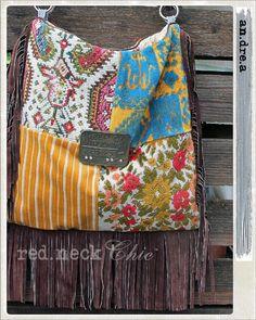 "red.neck Chic introduces ""an.dre.a"" the truck driver / pocketbook / handmade purse / hobo bag / fringe patchwork hobo / leather fringe bag"