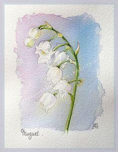 Aquarelles ส น ำ ดอกไม ภาพวาด