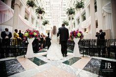 Renee & Daniel's wedding ceremony at The Atrium at the Curtis Center in Philadelphia, PA. Photos by Jordan Brian Photography www.jordanbrian.com