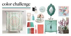 """""""Green and Blush Bathroom"""" by my-pretend-closet ❤ liked on Polyvore featuring interior, interiors, interior design, home, home decor, interior decorating, Cost Plus World Market, Aquanova, Kingsley and Room Essentials"""