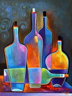 Original Abstract Painting Cubist WIne Oil on by MarlinaVera