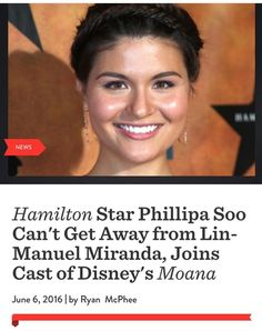 Part of the reason I love this headline is that it sounds like Lin just attached himself to her. 'LIN, Lin, Linnnnnn let go' 'NO PHILLIPA, STAY WITH ME PLEASE' '...Lin, let go.' 'BUT DIDNEY' '..........' '................' 'Fine. Fine, Lin, fine!' (No but for real I'm so excited for this)