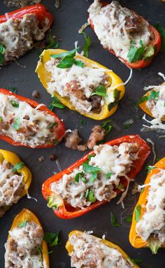 This sausage stuffed mini sweet peppers recipe is so delicious thanks to sweet Italian sausage and cream cheese. It's a perfect game day appetizer! from (Italian Sausage Recipes) Sausage Appetizers, Game Day Appetizers, Italian Appetizers, Appetizer Recipes, Mini Appetizers, Healthy Appetizers, Mini Sweet Peppers, Stuffed Mini Peppers, Sausage Stuffed Peppers