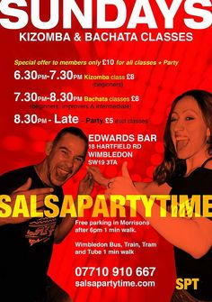 We're OPEN tonight, Sunday 27th November, so Come and join us for A Great Night Out @ Host Edwardswimbledon. Everyone is welcome! No partner required. Kizomba @ 6.30pm with The Brilliant World Rising Star Richard Voogt, Richard Dean Voogt, Richard Voogt III. Bachata @ 7.30pm with our Special Guest teachers from Spain Angel Gabriel & Yaiza Alba Canton, Richard Voogt, Dave Nokku. Then it's PartyTime with DJ Richie Rich playing the very best tunes in Bachata, Kizomba & Bachata.