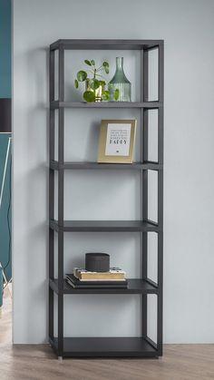 Loft Furniture, Metal Furniture, Furniture Design, Steel Bookshelf, Metal Bookcase, Wood And Metal Shelves, Modern Bookshelf, Industrial Bookshelf, Open Bookcase