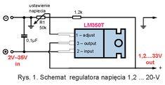 Schemat regulatora napięcia 1,2 … 20-V na układzie LM350T Linux, Arduino, Monitor, Floor Plans, Diagram, Blue Prints, Linux Kernel, Floor Plan Drawing, House Floor Plans