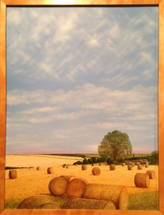 Late summer fields near Huggate, Yorkshire Wolds. Original painting by William Simon Wallace