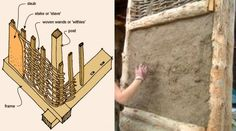 """Many houses built by Vikings, and Anglo Saxons, especially in the Danelaw Area of England, were made from """"WATTLE AND DAUB"""". The posts, and stakes, were made from oak, or ash, whilst the woven """"withies"""" were made from willow branches. The """"daub"""" was made from clay mixed with horse hair, or straw."""