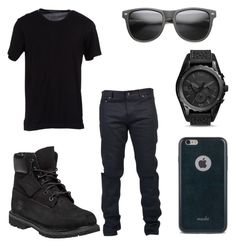 """All Black Party Outfit for Men"" by deajhaboyd on Polyvore featuring Timberland…"