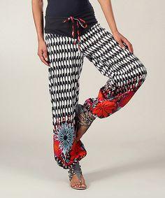 Look at this #zulilyfind! Black & White Floral Pants by Aller Simplement #zulilyfinds