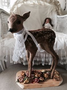 Vintage Bambi fawn Fawn standing taxidermy by Chambredecoeur