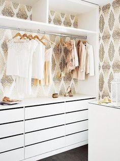 Gold + white closet.