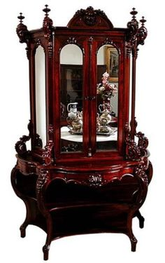 American Rococo Carved Rosewood Cabinet by Joseph Meeks | eBay