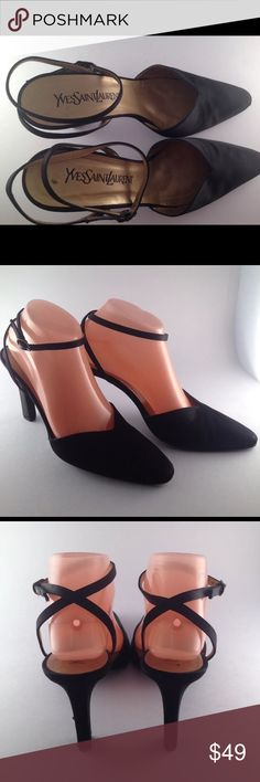 c1b48991d8b7 Yves Saint Laurent black satin heel mules size 8