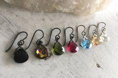 Briolette Earrings Niobium Earrings Blue by BeadsBaublesBlessing